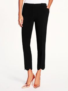 kate spade jackie capri scallop black pants