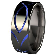 Ichthus Christian Black and Color Anodized Titanium Wedding Ring