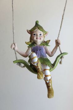 Pixie Figurine on Swing with 18 in.Metal Garden Stake Resin pixie New Pixies Miniature Fairy Gardens, Miniature Dolls, Periwinkle Flowers, Fairy Village, Rustic Bench, Wooden Tree, Fantasy Setting, Garden Stakes, Flower Fairies