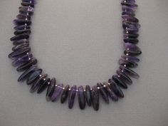 Amethyst  Necklace Top Drilled Stick Sterling Handmade, $24.99