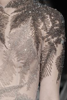 Dress with sheer top and beautifully beaded leaf patterns; embellished fashion details // Giles AW… (With images) Style Haute Couture, Couture Details, Couture Fashion, Couture Embroidery, Beaded Embroidery, Embroidery Designs, Look Fashion, Fashion Details, Street Fashion
