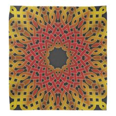 Red and Yellow Celtic Knot Tile 235 Bandana