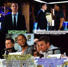 Stephen is intimidated by Diggle. But not Oliver. Haha