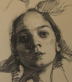 """ARTIST: Teresa Oaxaca ~ """"Champagne Wig - Detail"""" (Charcoal and white chalk)"""