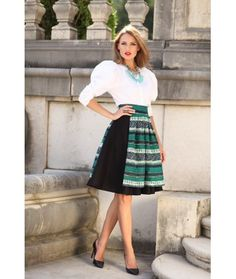 Ie Traditionala Romaneasca Maneca Lunga Motivul Punct In Cruce Fashion History, Traditional Dresses, Midi Skirt, High Waisted Skirt, Silk, My Style, Floral, Skirts, Fashion Trends