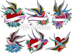 """swallow set design - gasp! Idea for the bottom center one """"don't tread on me"""" on the heart"""