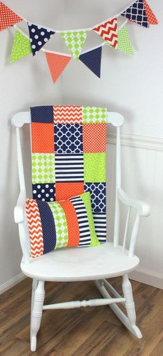 Navy Blue, Orange and Grey Custom Crib Bedding, Baby Bedding, Baby - babyzimmer orange grn