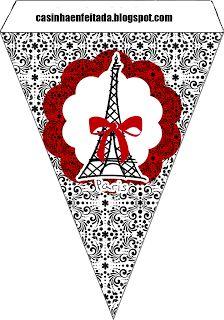 Kit Paris Preto e Vermelho Para Imprimir Grátis