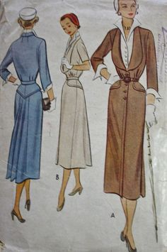 1940s-50's Beautifully Tailored Button Front Dress Yoke Detail Back Pleats McCall 8156 Vintage Sewing Pattern