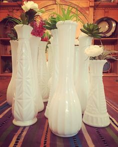 When hosting a party for a bride to be... you pull out the milk glass! #milkglass #vintage #bride #decor #succulents #pottery #flower #vases