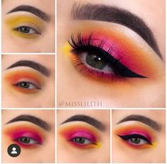 Eyeshadow tutorial for pink and yellow eye makeup Makeup Eye Looks, Eye Makeup Steps, Eye Makeup Art, Colorful Eye Makeup, Creative Eye Makeup, Cute Makeup, Beautiful Eye Makeup, Romantic Makeup, Makeup Trends