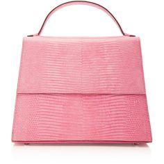 Hunting Season M'O Exclusive Top Handle Lizard Bag (€1.590) ❤ liked on Polyvore featuring bags, handbags, purses, pink, top handle handbags, hand bags, pink purse, leather handbags and leather crossbody handbags