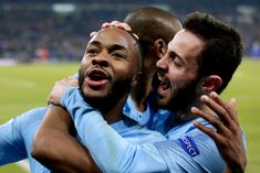 Raheem Sterling of Manchester City celebrates with Fernandinho of Manchester City, Bernardo Silva of Manchester City during the UEFA Champions League match between Schalke 04 v Manchester City at. Get premium, high resolution news photos at Getty Images Raheem Sterling, Uefa Champions League, Manchester City, F1, February, Germany, Soccer, Football, Couple Photos