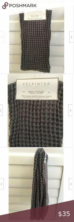 2 KITCHEN TOWELS  CREAM  GRAY 9 1//2  X 27 1//2  PORTUGAL NWT FELPINTER