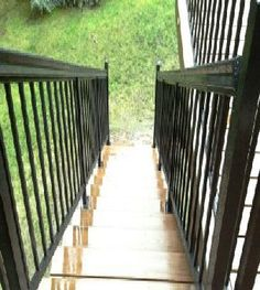 Custom deck stairs by Skyline Deck & Construction. Deck Construction, Deck Stairs, Custom Decks, Covered Decks, Diy Deck, Building A Deck, Deck Design, Garden Bridge, Pergola