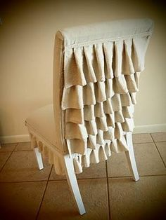 Whether you use grain sacks or painter's canvas, this chair is brilliant!    Cindy at Le Chaise Parfait shares her NO SEW tutorial!  http://lechaiseparfait.blogspot.com/2011/03/ruffle-back-chair-tutoral.html