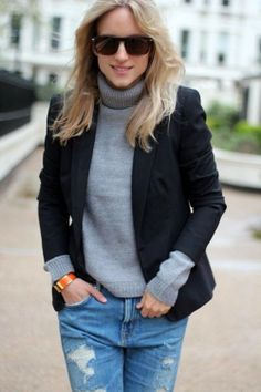 Grey warm sweater with black coat and sky blue casual stylish jeans