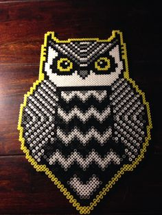 Tribal owl hama perler beads by Dorte Marker