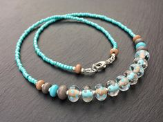 Lampwork glass and sterling silver 'Sea Breeze' Necklace | by Beads By Laura