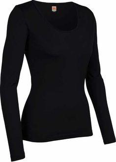 Icebreaker Tech LS Scoop Black XS t/m XL | Shirts lange mouw | MOOSECAMPwebshop