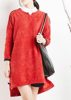 Red plus size cotton dresses maternity shift dresses women blouse