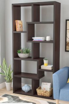Cube unit wood bookcase with 10 shelves. Eight staggered storage cubes in various sizes. Bookcase Shelves, Wall Shelves, Shelving, Bookcases, Living Room Partition Design, Room Partition Designs, Storage Cubes, Cube Unit, Wall Paint Colors