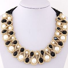 Asujewlery.com Offers High Quality Luxurious Black & White Beads Decorated Weave Design,Priced At Only US$2.83(Free Shipping)