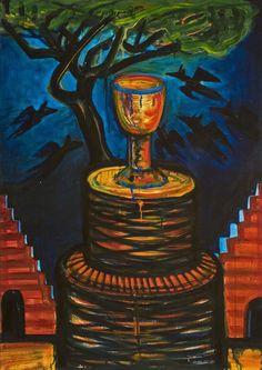 El Kazovszkij: Emeletes grál / Double - Storey Grail - é. / undated - cm - olaj, farost / oil on wallboard Art History, Oil, Painting, Painting Art, Paint, Draw, Cooking Oil, Paintings, Butter
