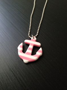 Pink striped anchor necklace - for child or adult marine nautical on Etsy, $7.00