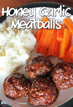 Honey Garlic Meatballs. The perfect kid-friendly meal! Switch oats for bread crumbs
