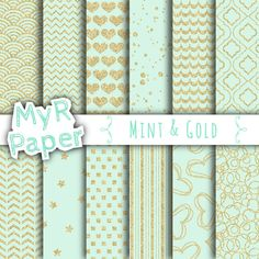 """With #love by @myrpaper in @etsy #pattern #design #graphic #paperdesign #papercraft #scrapbooking #digitalpaper Gold glitter digital paper: """"MINT & GOLD"""" Glitter paper pack with #chevron, polkadots, stripes, scallops, stars, hearts on mint color  Hello And Welcome To My Shop  These di... #backgrounds #patterns"""