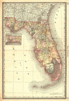 Map Of Florida A Wonderful Reproduction Of Florida Map History - Antique map reproductions for sale