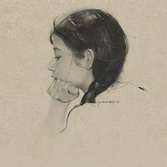 ArtStation - *_*~, digotal art by Yizheng Ke. Fine Art Drawing, Daily Drawing, Figure Drawing, Painting & Drawing, Art Drawings, Drawing Videos For Kids, But Is It Art, Art Studio Organization, Charcoal Portraits