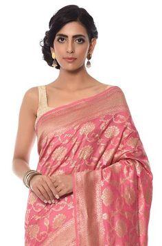 Pink mercerized cotton jangla saree