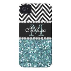BLUE GLITTER BLACK CHEVRON MONOGRAMMED iPhone 4 Case-Mate CASES GIRLY LIGHT BLUE GLITTER (PRINTED EFFECT) WITH BLACK AND WHITE CHEVRON PATTERN, MONOGRAMMED WITH YOUR NAME, YOUR INITIAL OR MONOGRAM ON A BLACK STRIPE OR BAND WITH A BORDER OF PRINTED WHITE DIAMONDS. TRENDY, CHIC COOL CUTE DESIGN FOR HER, THE TRENDSETTER, THE FASHIONISTA #chevron #glitter #blue #black #monogram #initial #monogrammed #personalized #girly #diamonds #bling...