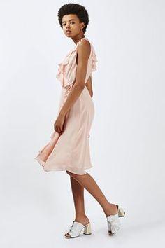 Ruffled Wrap Slip Dress