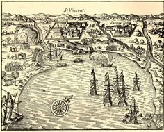 """Map of São Vicente, São Paulo (1615)  It was the first Portuguese permanent settlement in the Americas. Established as a proper village in 1532 by Martim Afonso de Sousa on what was then the Porto dos Escravos (""""Port of the Slaves""""). São Vicente is titled Cellula Mater (Mother Cell) of Brazil for being the first organized town in the country. The first City Council of all the Americas was democratically elected and established in São Vicente on August 22, 1532."""