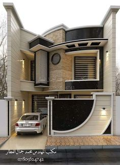 Stunning Modern Dream House Exterior Design Ideas – Page 17 – Afshin Decor Unique House Design, Bungalow House Design, House Front Design, Minimalist House Design, Cool House Designs, Minimalist Interior, Modern House Plans, Building Design, Exterior Design