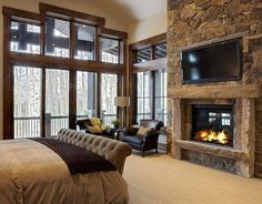 traditional fireplace in master bedroom # fireplace bedroom, 20 Beautiful Bedrooms With Stone Fireplace Designs Rustic Master Bedroom, Master Bedroom Design, Home Decor Bedroom, Bedroom Ideas, Master Bedrooms, Bedroom Designs, Bedroom Furniture, Bedroom Brown, Blue Bedrooms