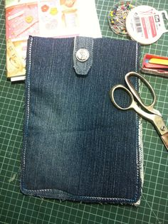 The other side of my upcycled denim, tablet pocket.