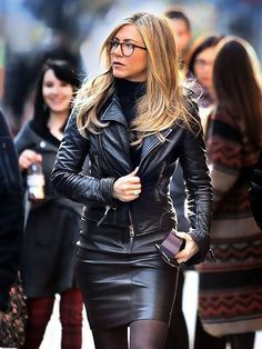 Leather Dresses, Leather Skirt, Leather Jacket, Jennifer Aniston Glasses, Outfits, Skirts, Jackets, Fashion, Fall Winter