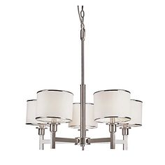 White linen shades have brushed nickel accents at top and bottom for a rich contemporary look. Contemporary indoor lighting fixture includes hardware and installation instructions. Includes 6 feet of chain for height adjustments.