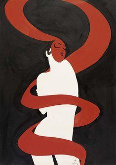 """redlipstickresurrected:""""René Gruau aka Renato Zavagli-Ricciardelli delle Caminate aka Renato De Zavagli (Italian, 1909–2004, b. Rimini, Italy) - Poster design for the Galerie Tallien in Saint-Tropez, 1976 Tempera on Paper"""""""