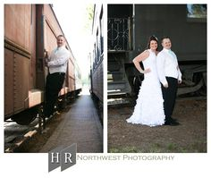 Wedding Photographs at Salish Lodge  in Snoqualmie, Washington. HR Northwest Photography. Offsite Train Depot wedding picture ideas. Bride and Groom.
