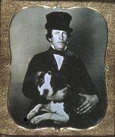 Daguerreotype of Man with a Dog, c. 1850s    http://polarbearstale.blogspot.com/2011/01/daguerreotypesand-dogs.html