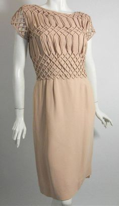 Vintage 60's soft mauve crepe rayon cocktail dress with lattice cord overlay bodice