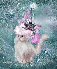 Cat In Snowflake Santa Hat art and prose by Carol Cavalaris. In a flurry of big snowflakes A furry white cat sat Wearing a very tall And very fancy Snowflake Santa Hat.