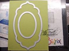 When you are die cutting your SU Apothecary Accents label, you can die cut the SU oval die out of the center at the same time to create a frame - includes four cards showing this frame technique