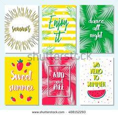 Set of greeting summer card with sunburst, watermelon, palm leaf, strawberry, stripe, dots. Hello summer, enjoy it, fresh summer, good vibe. Template for card, blog, flyer, invitation, poster. Summer.