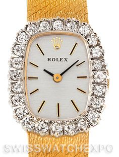 Rolex Vintage Ladies 14k Yellow Gold Diamond Coctail Watch 8265